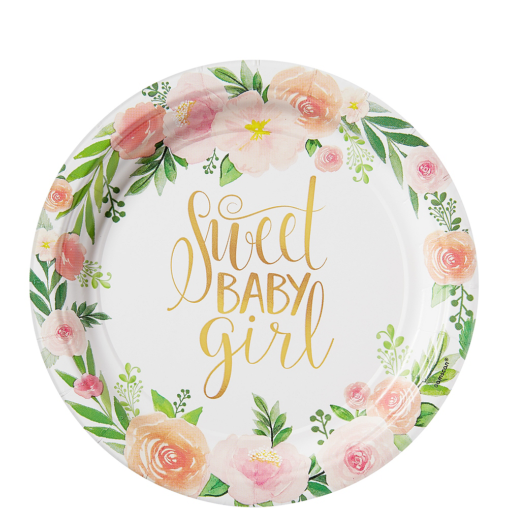 Floral Baby Dessert Plates 8ct Party City