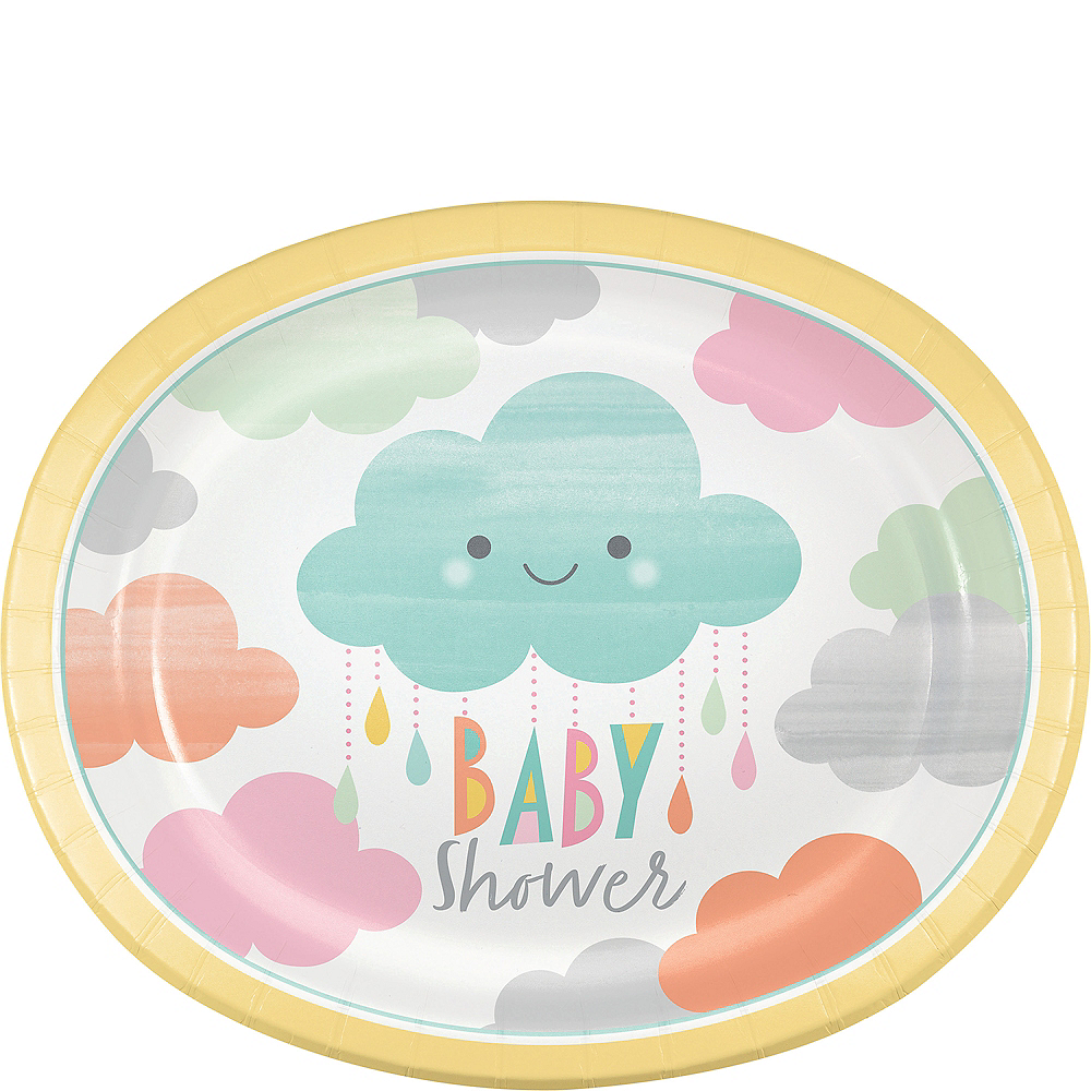 Happy Clouds Baby Shower Oval Plates 8ct Image #1