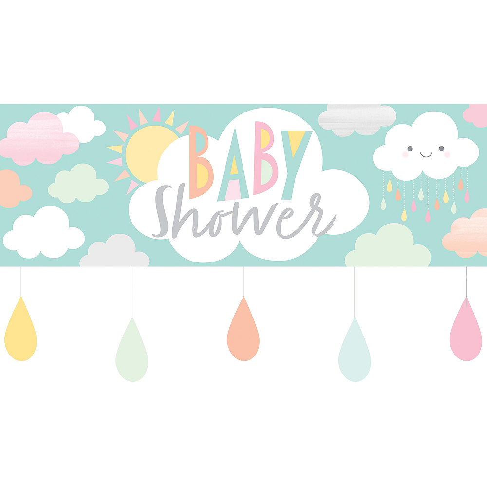 Giant Happy Clouds Baby Shower Banner Image #1