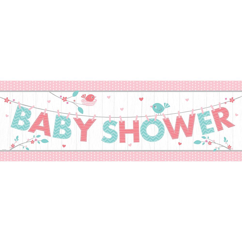 Giant Hello Girl Baby Shower Banner Image #1