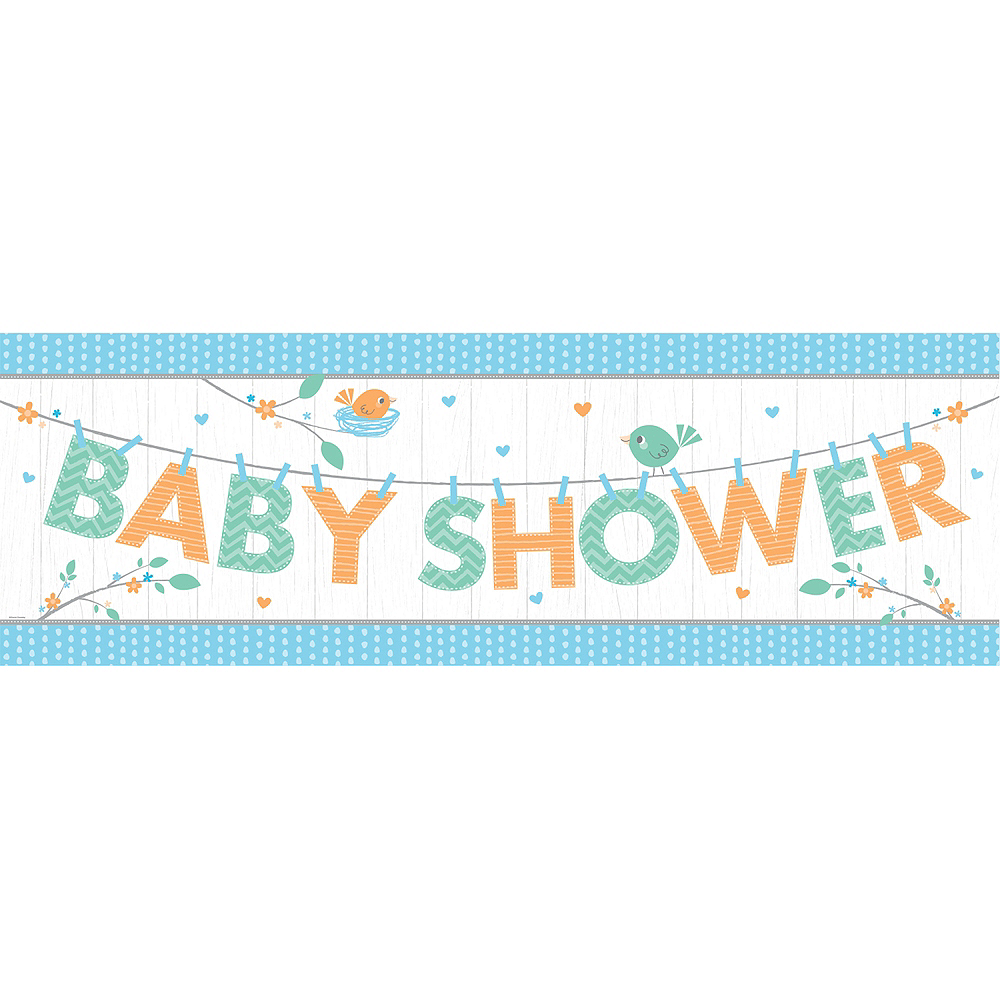 Giant Hello Boy Baby Shower Banner Image #1