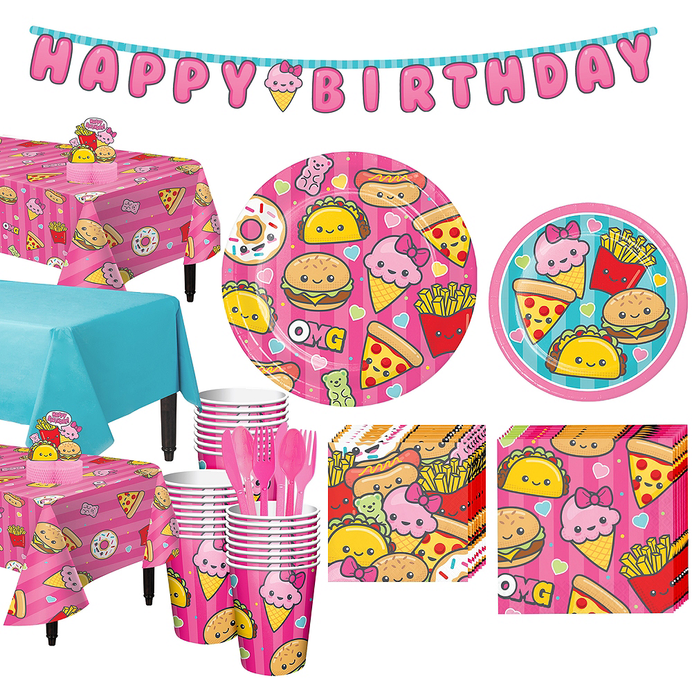 JUNK FOOD FUN Birthday Party Supply Set Pack Kit for 16 w// Banner FREE U.S Ship