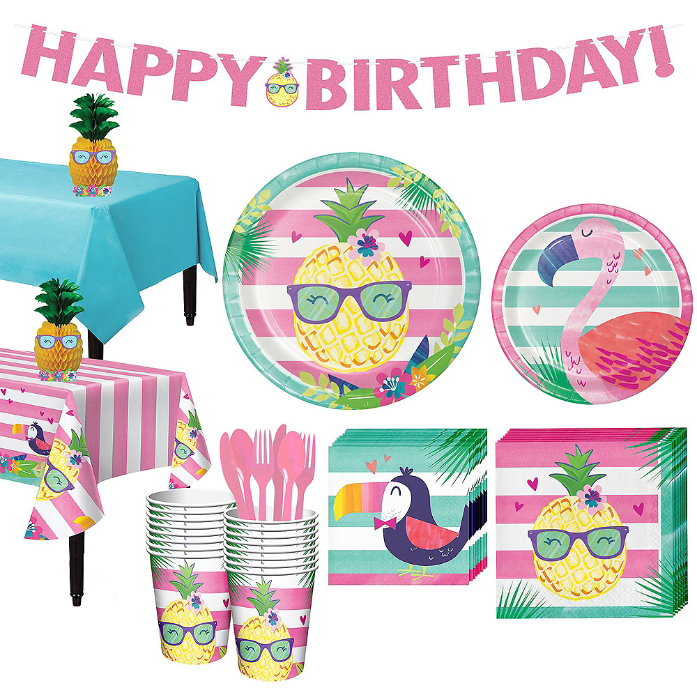 Striped Tropical Basic Party Kit for 16 Guests Image #1