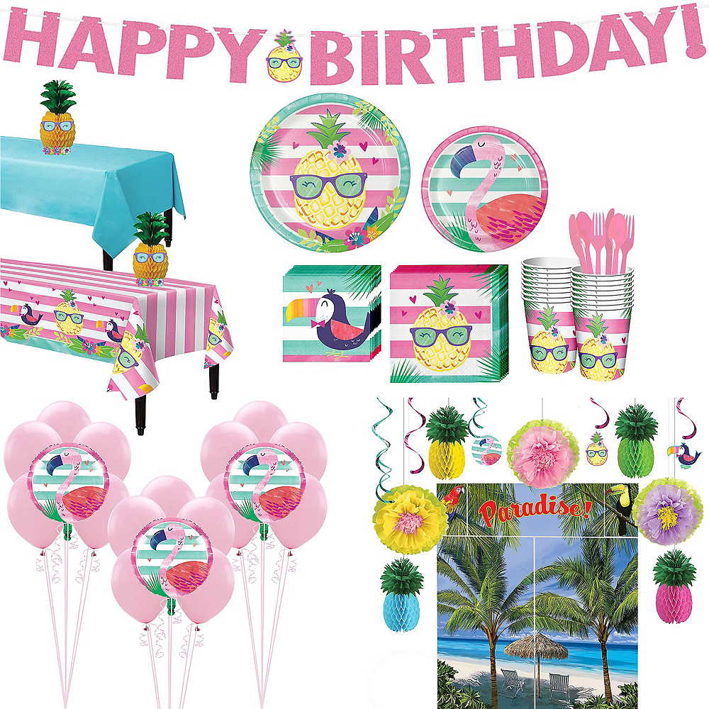 Striped Tropical Ultimate Party Kit for 16 Guests Image #1