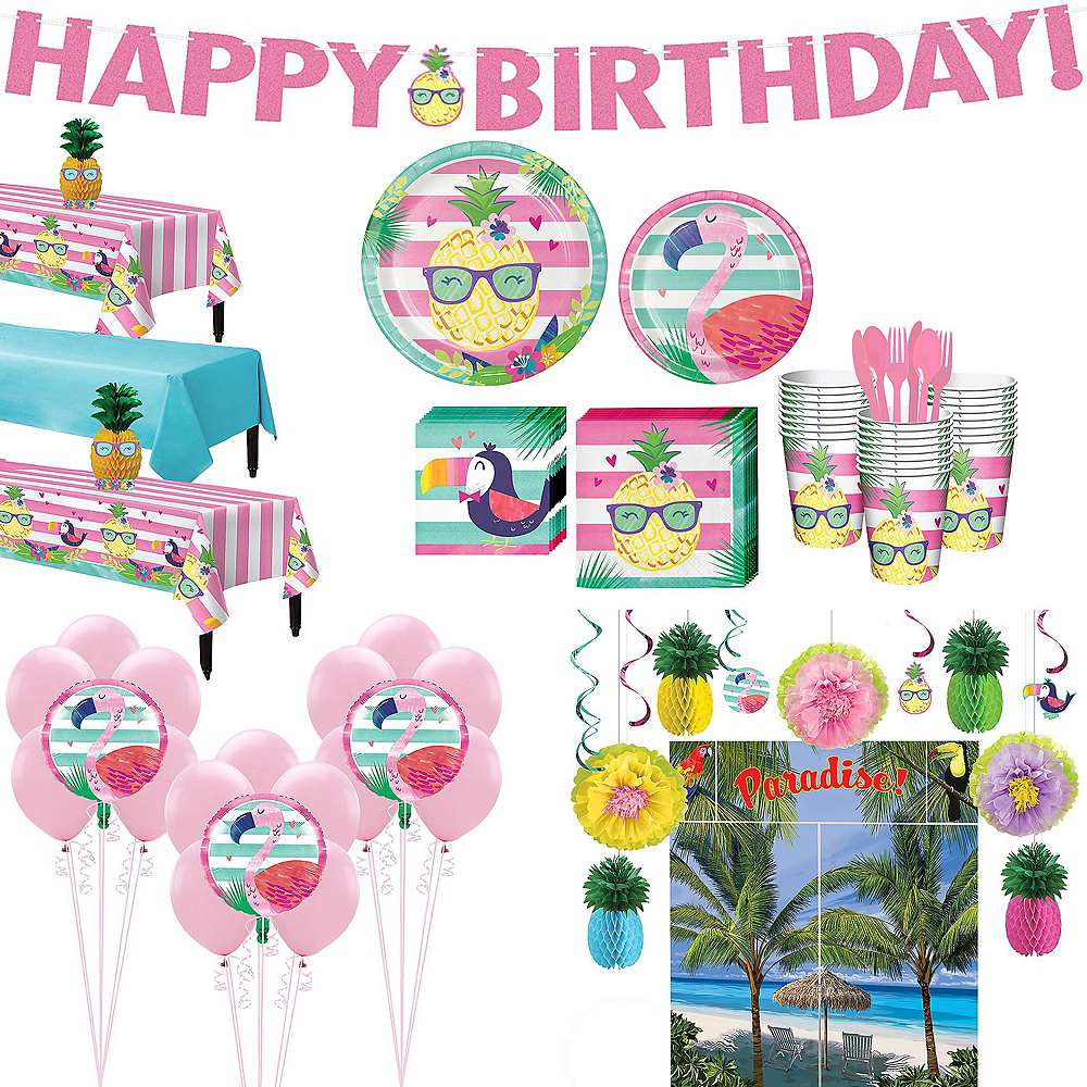 Striped Tropical Ultimate Party Kit for 24 Guests Image #1