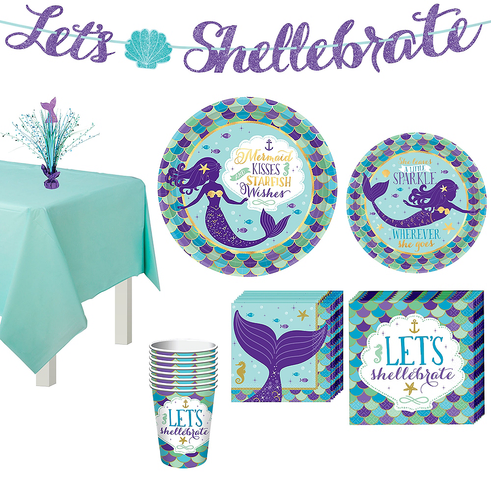 Wishful Mermaid Basic Party Kit for 8 Guests Image #1