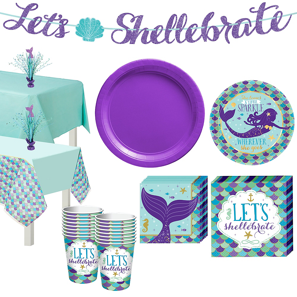Wishful Mermaid Basic Party Kit for 16 Guests Image #1