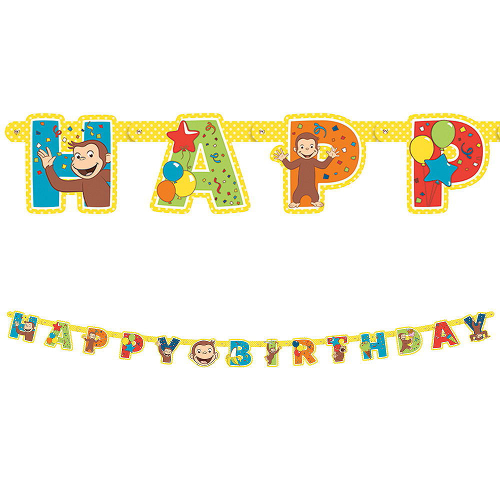 Curious George Birthday Banner 6 1/2ft x 5in | Party City