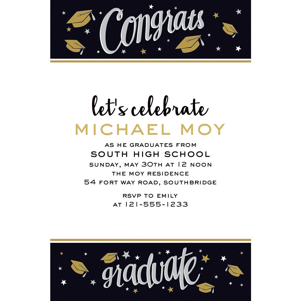 Custom Black & Gold Congrats Grad Invitation   Party City