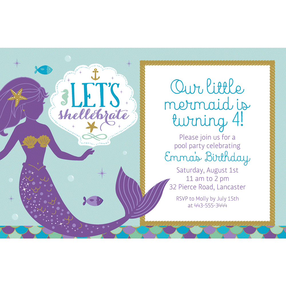 Custom Mermaid Wishes Invitation Image 1