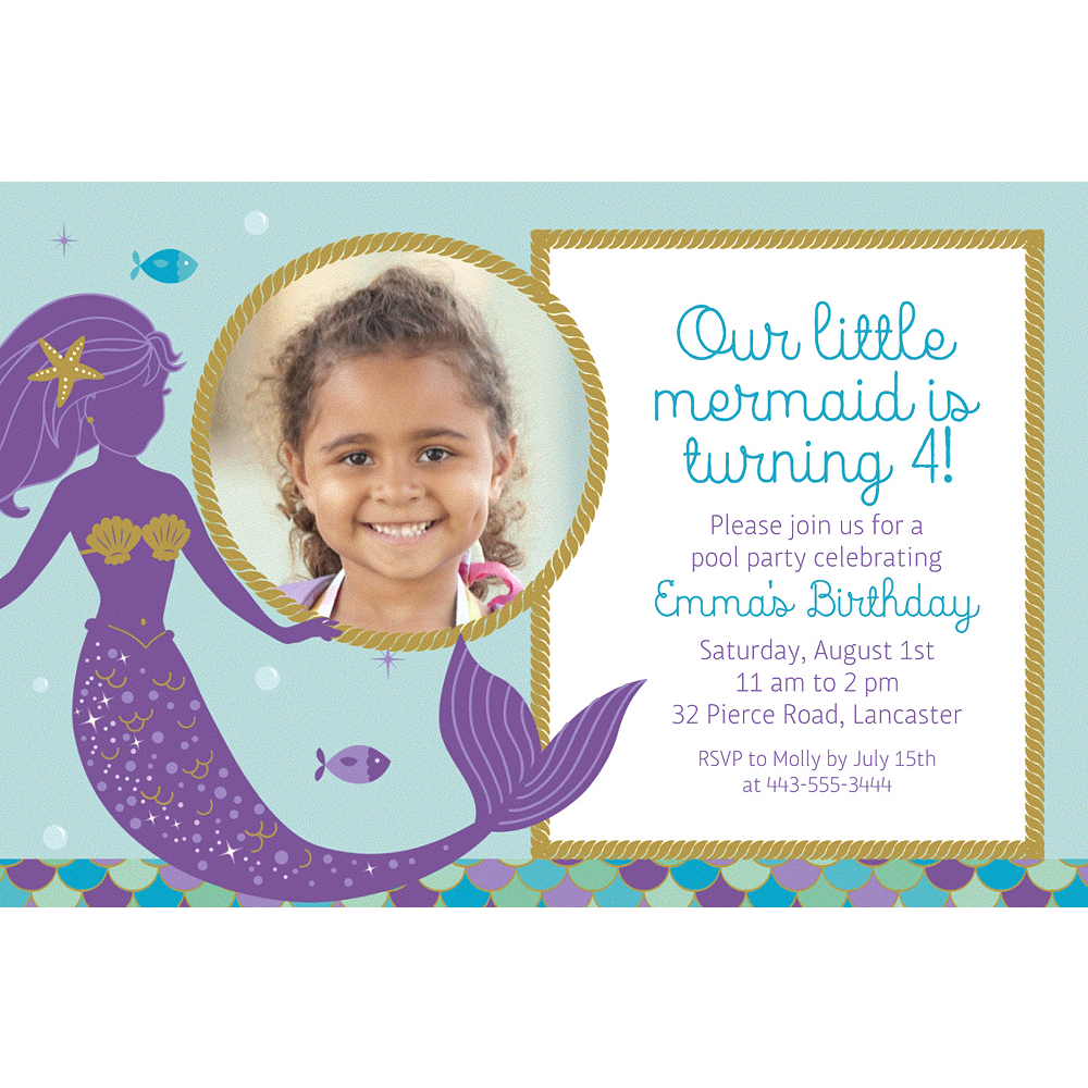 Custom Mermaid Wishes Photo Invitation Image 1