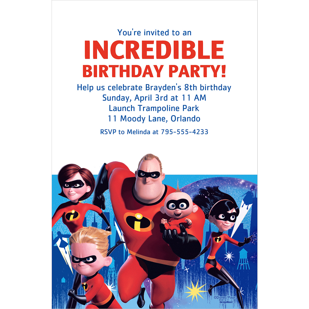 Custom Incredibles 2 Invitation Image 1