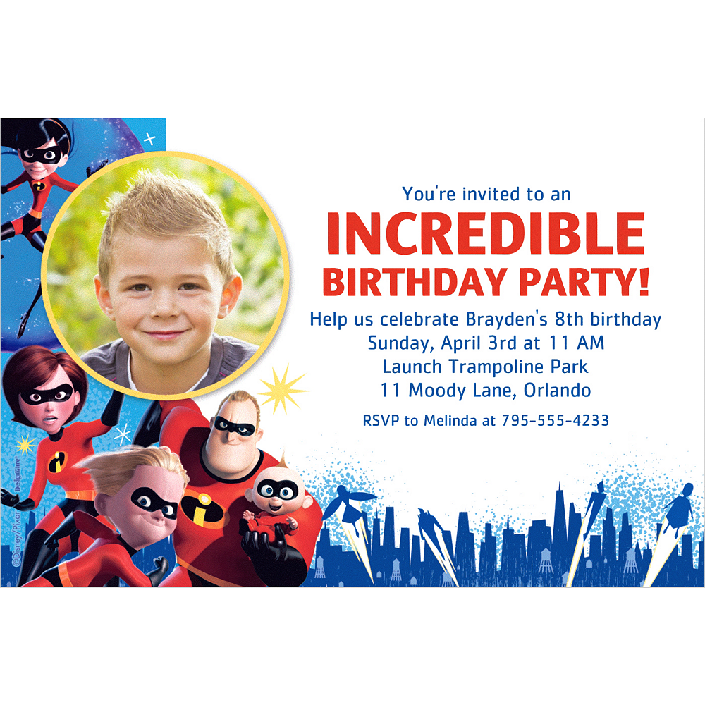 custom incredibles 2 photo invitation party city