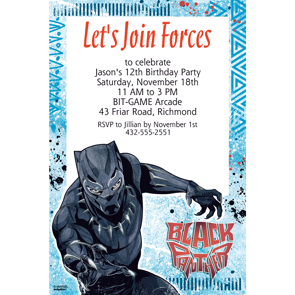 Custom Black Panther Invitation Image 1