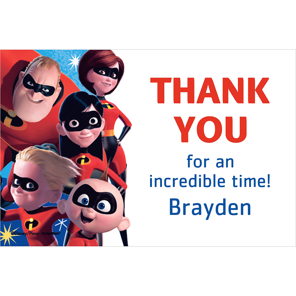 Custom Incredibles 2 Thank You Note | Party City