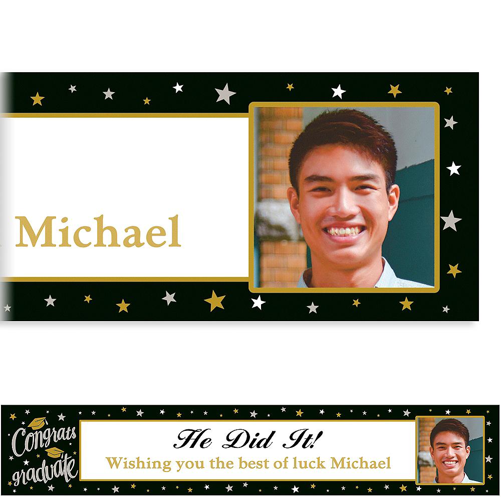 Custom Black & Gold Congrats Grad Photo Banner Image #1