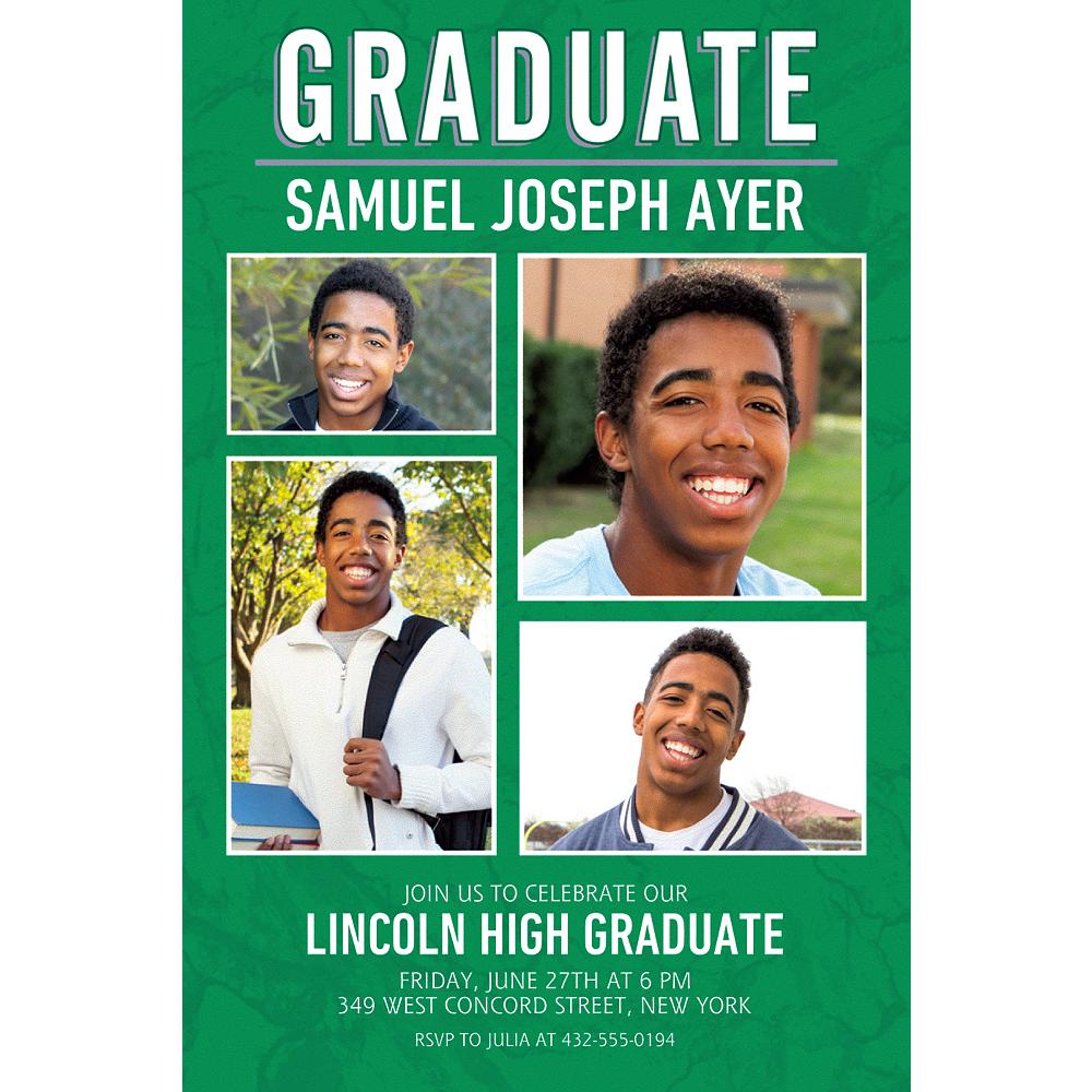 Custom Emerald Stone Collage Grad Photo Invitation Image #1