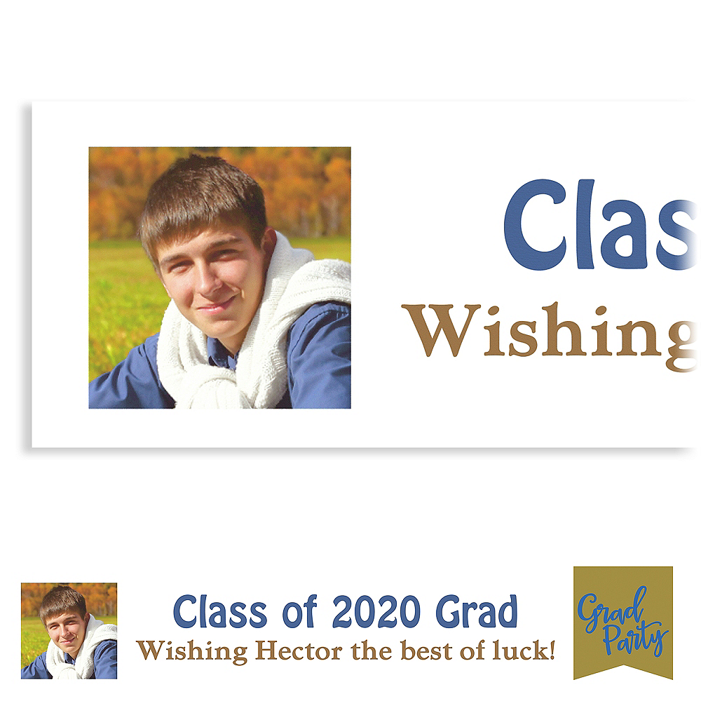 Custom Gold Ribbon Collage Grad Party Photo Banner Image #1