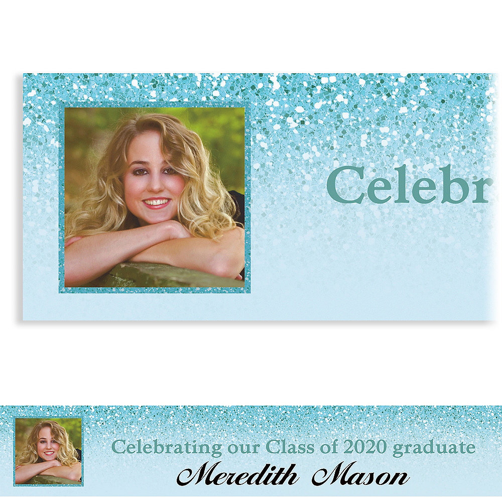 Custom Shimmery Blue Graduation Photo Banner Image #1