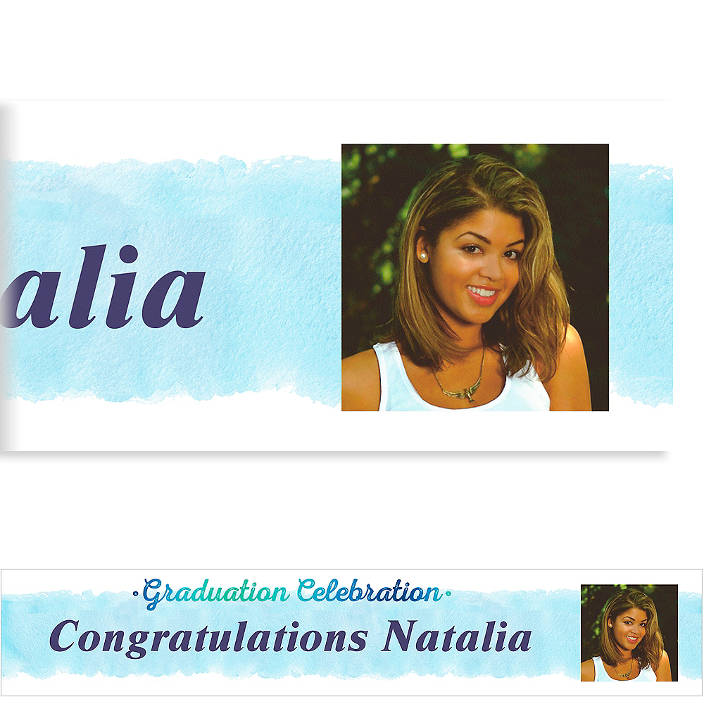 Custom Teal Watercolor Collage Grad Photo Banner Image #1