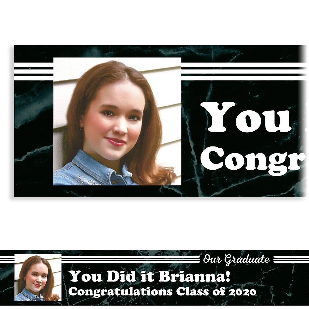 Custom Black Marble Collage Graduate Photo Banner Image #1