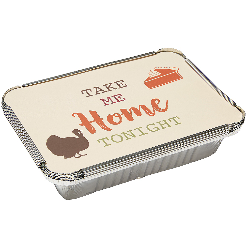 Thanksgiving Aluminum To-Go Containers with Board Lids, 5in x 7.5in, 6ct Image #1
