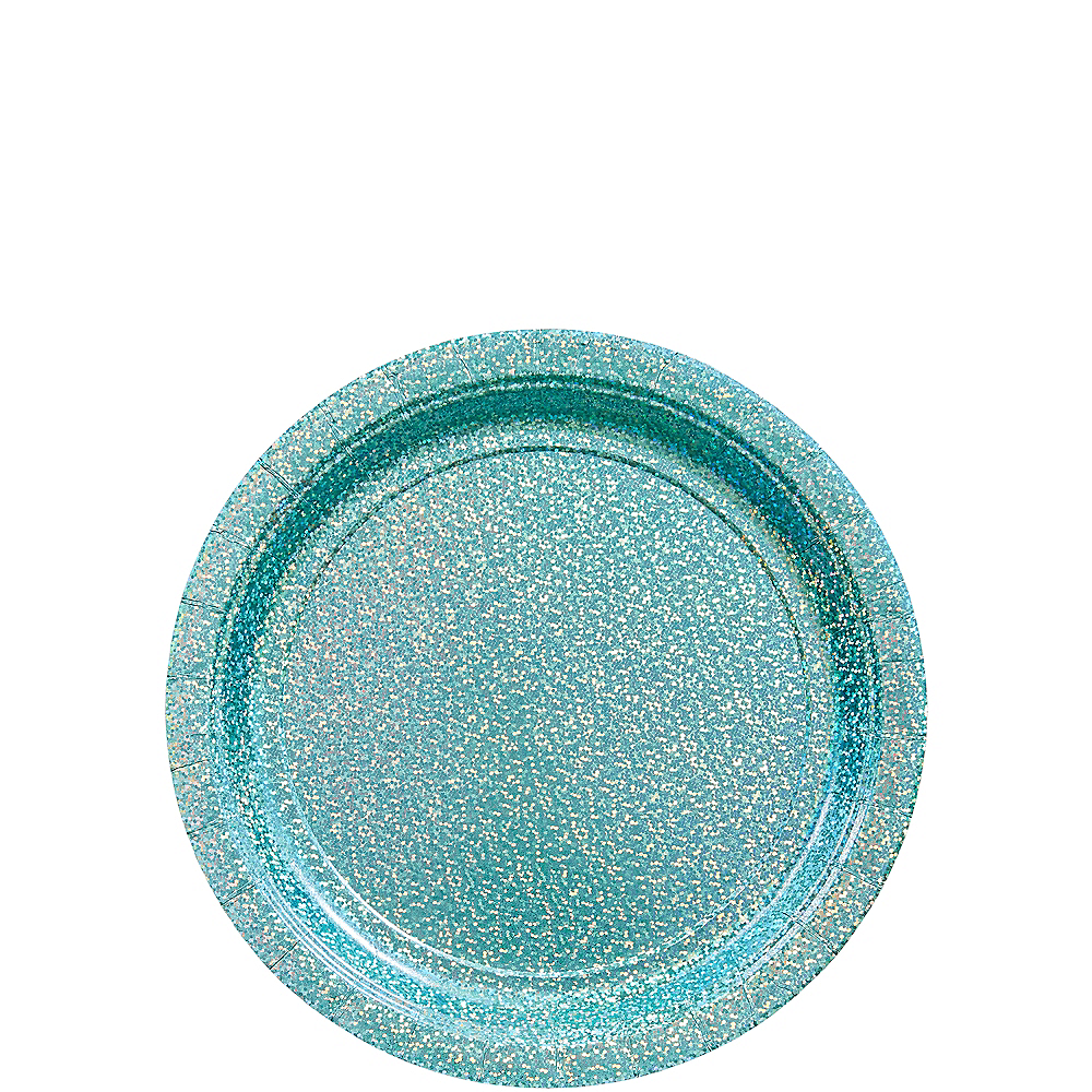 Prismatic Robin's Egg Blue Dessert Plates 8ct Image #1