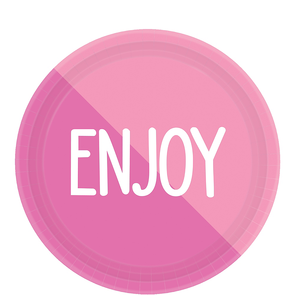 Pink Enjoy Lunch Plates 8ct Image #1