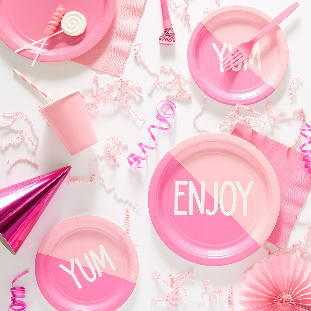 Pink Enjoy Lunch Plates 8ct Image #2