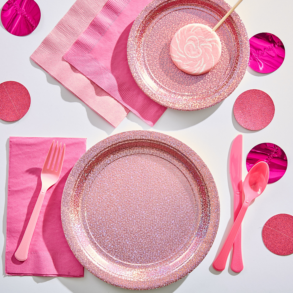 Nav Item for Prismatic Pink Lunch Plates 8ct Image #2