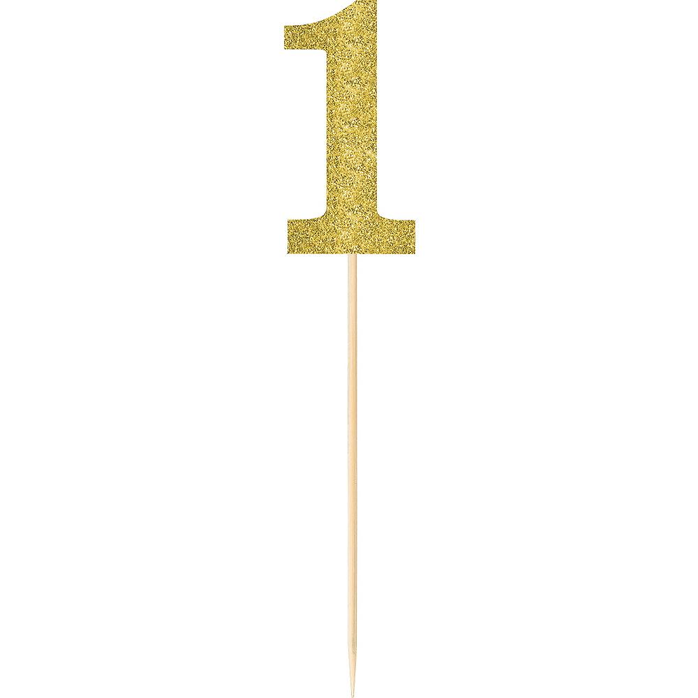 Large Glitter Gold Number 1 Picks 2ct Image #1