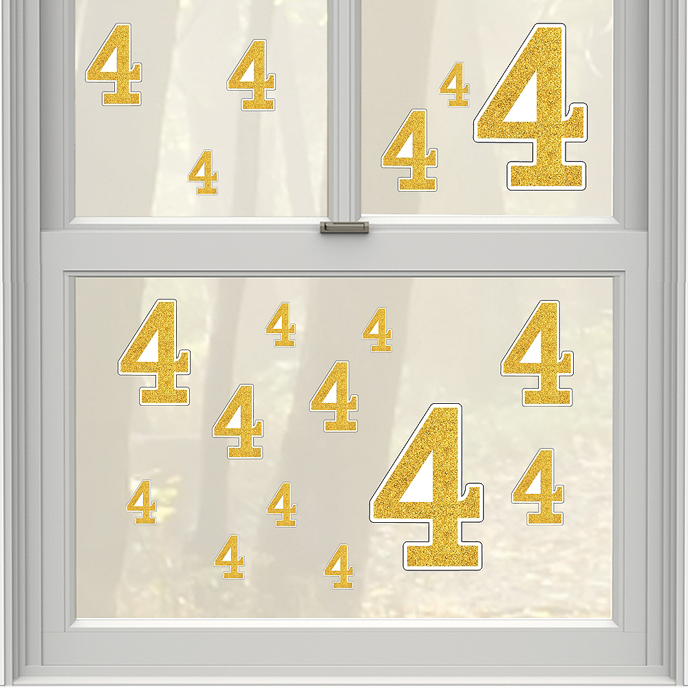 Gold Glitter Number 12 Cling Decals 12ct