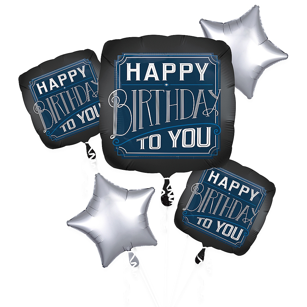 Vintage Happy Birthday Balloon Bouquet 5pc Image #1