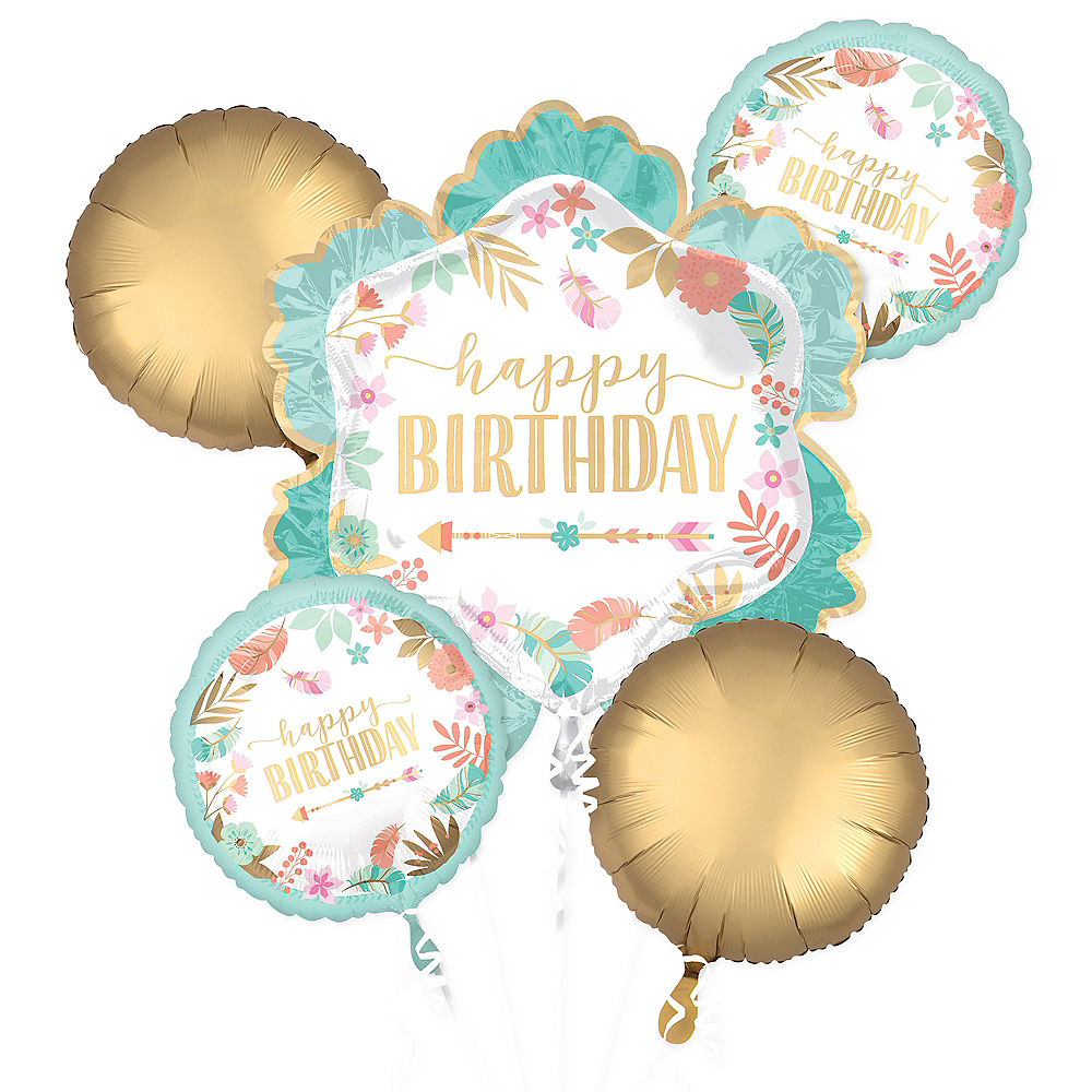 Boho Girl Birthday Balloon Bouquet 5pc Image 1