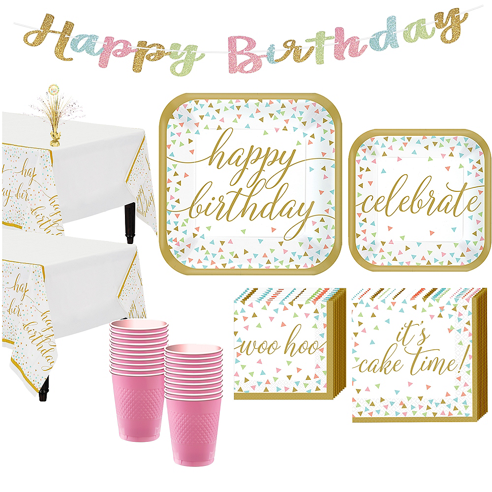 Confetti Fun Birthday Basic Party Kit for 18 Guests Image #1
