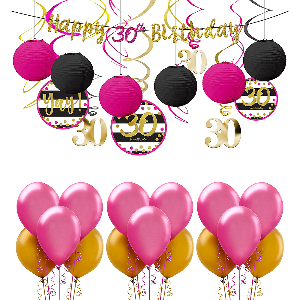 Nav Item For Pink Gold 30th Birthday Decorating Kit With Balloons Image