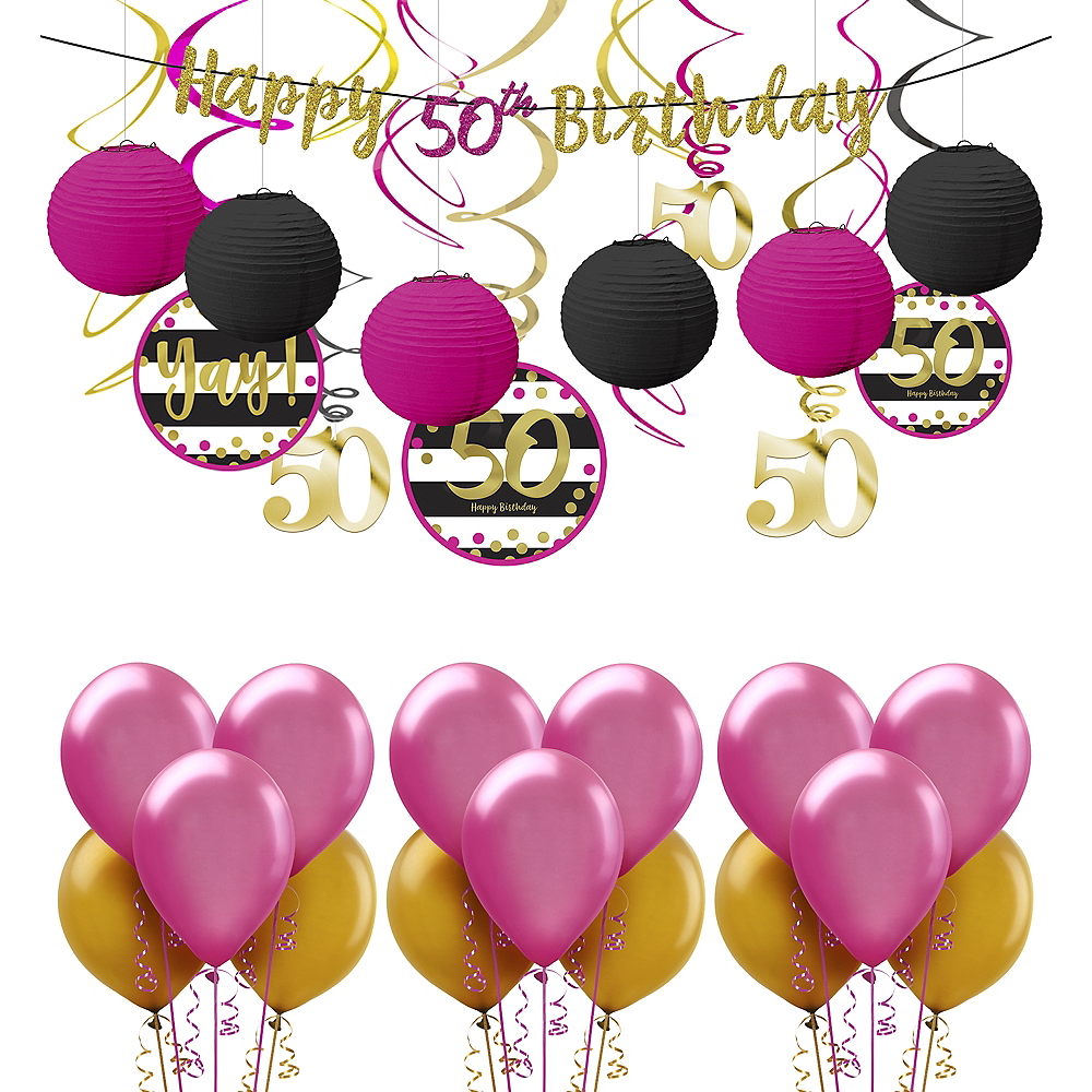 Nav Item For Pink Gold 50th Birthday Decorating Kit With Balloons Image