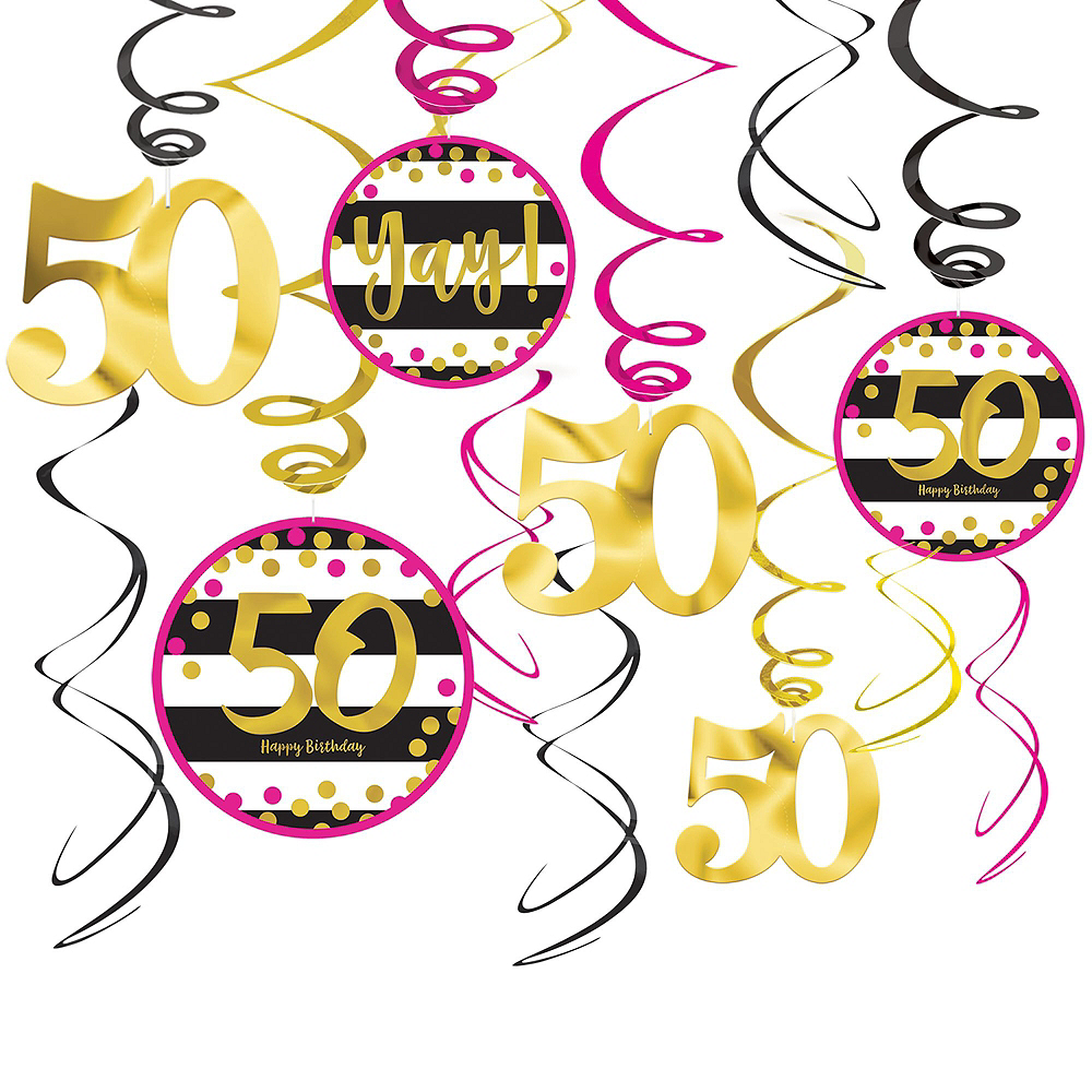 Pink & Gold 50th Birthday Decorating Kit with Balloons Image #5