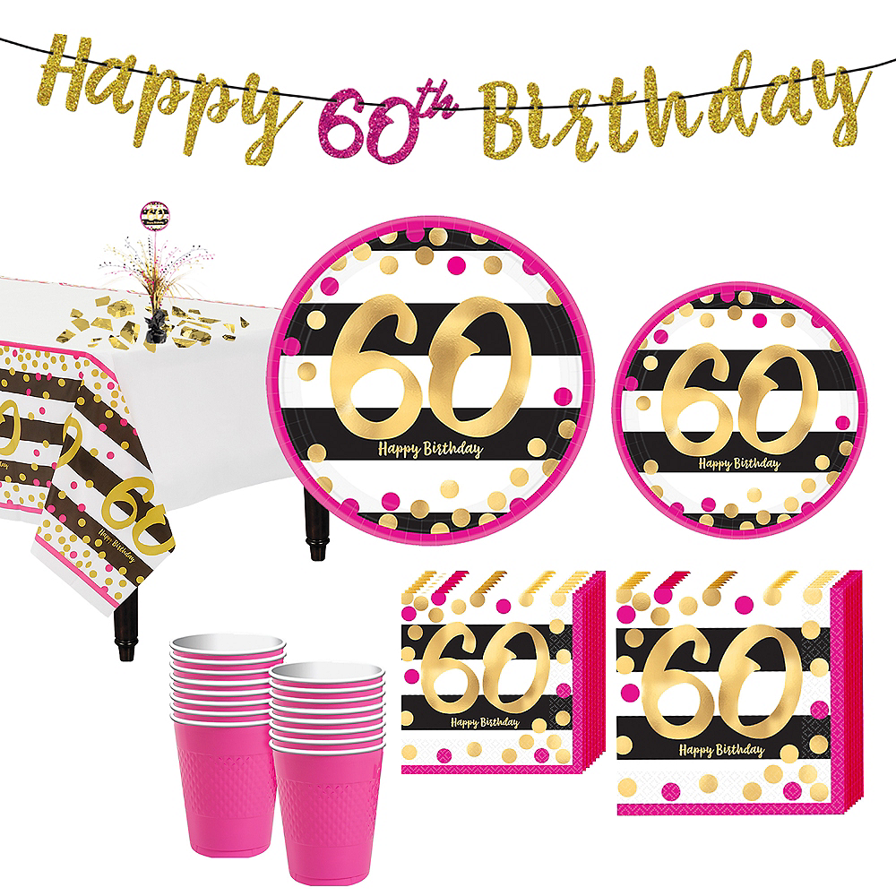 Nav Item For Pink Gold 60th Birthday Party Kit 16 Guests Image