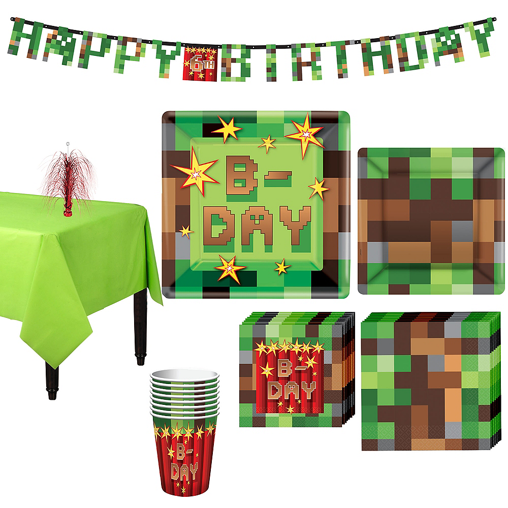 Pixelated Basic Party Kit for 8 Guests Image #1