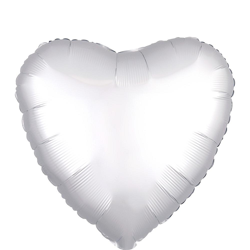 17in White Satin Heart Balloon Image #1