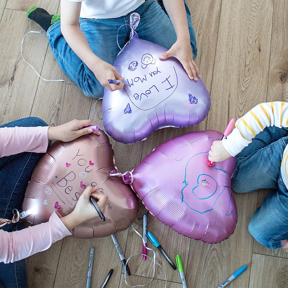 17in White Satin Heart Balloon Image #2