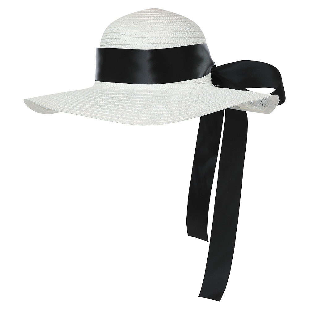 Nav Item for White Straw Hat with Black Ribbon Image  1 ... d4193b1945a