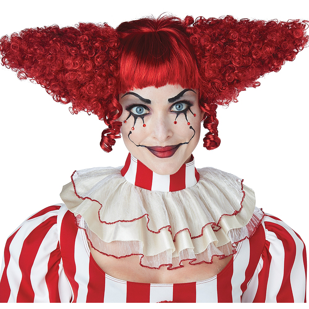 Red Clown Wig with Bangs Image #1