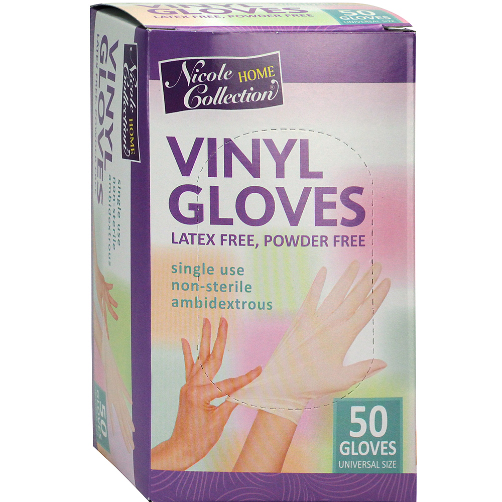 Nicole Home Collection Powder-Free & Latex-Free Vinyl Gloves, 50ct Image #1