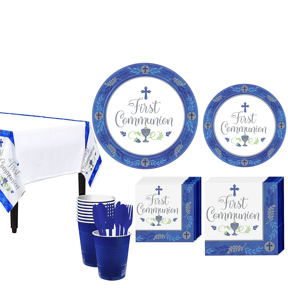 Boy's First Communion Tableware Kit for 18 Guests Image #1