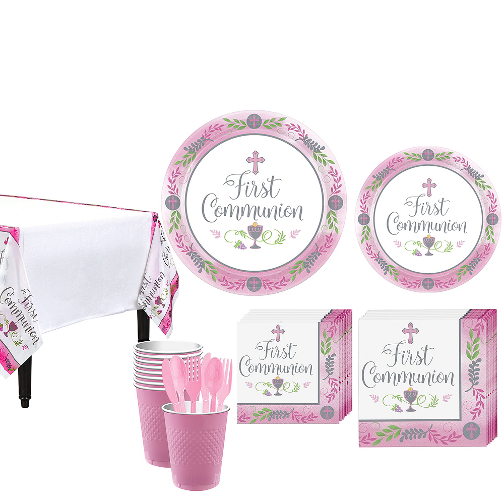 Girl's First Communion Tableware Kit for 18 Guests Image #1