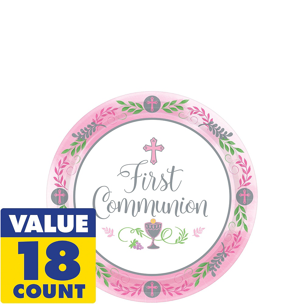 Girl's First Communion Tableware Kit for 18 Guests Image #2
