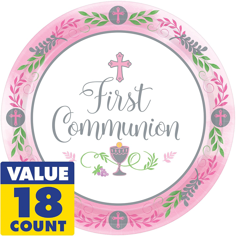 Girl's First Communion Tableware Kit for 18 Guests Image #3
