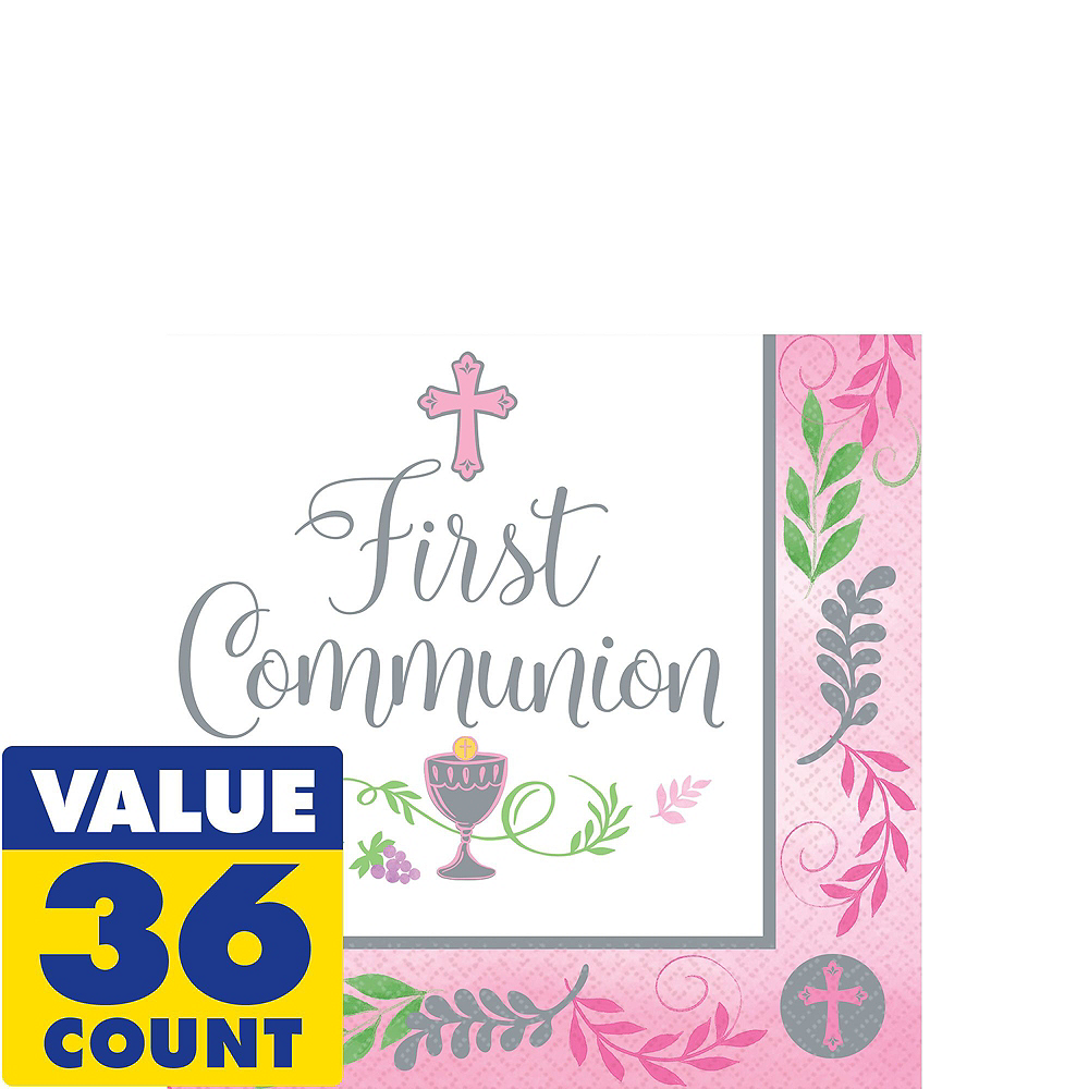 Girl's First Communion Tableware Kit for 18 Guests Image #4
